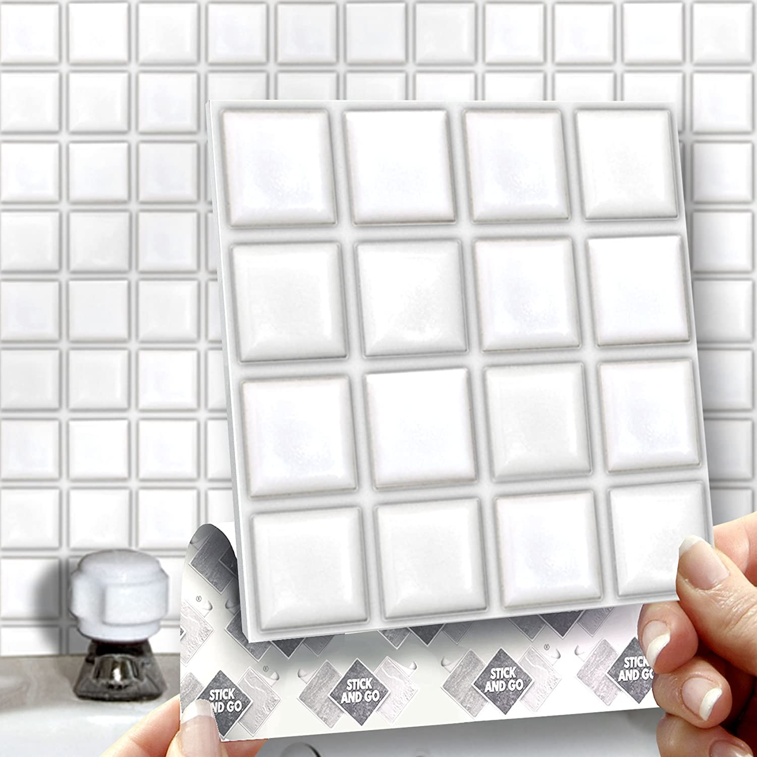 8 WHITE MOSAIC EFFECT WALL TILES - 2mm Thick and solid Self ...