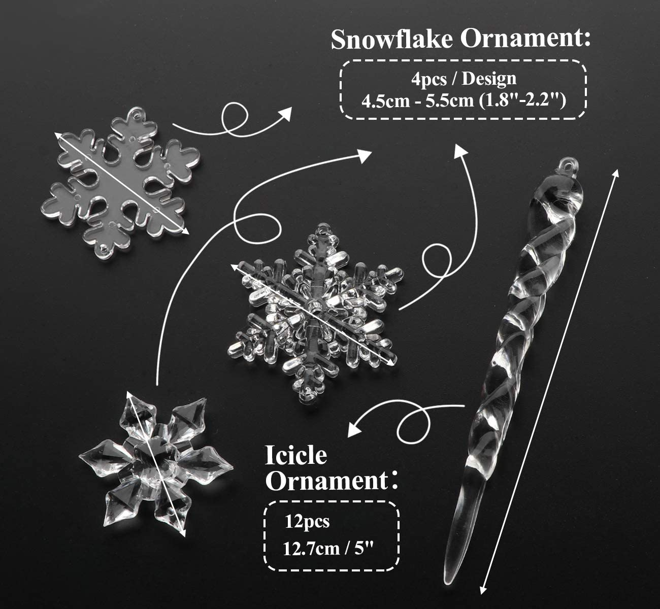 2 Snowflake 5 Icicle Ornaments Acrylic Crystal Christmas Tree Ornament Clear Hanging Decoration Set Of 24 Kitchen Dining