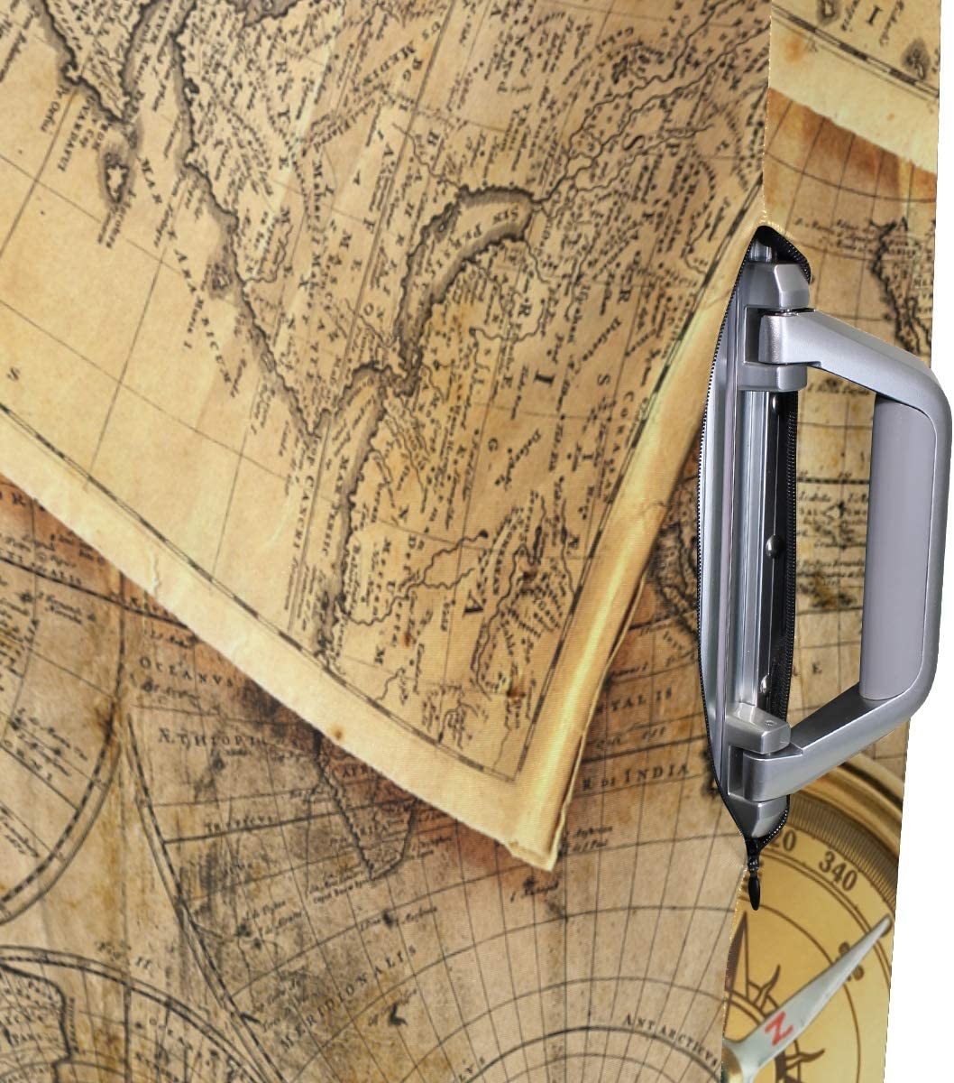 18//20//24//28//32 Inch Spandex Travel Luggage Cover Compass On Old Map Fashion Creative Design Anti-Scratch Stretchy Travel Suitcase Protector Baggage Covers