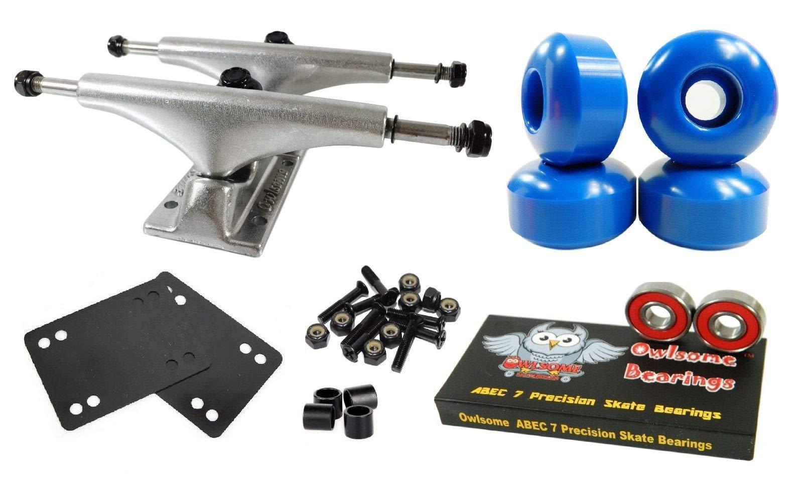 Blue 5.25 Polished Skateboard Trucks + 52Mm Wheels + ABEC 7 Bearings Combo