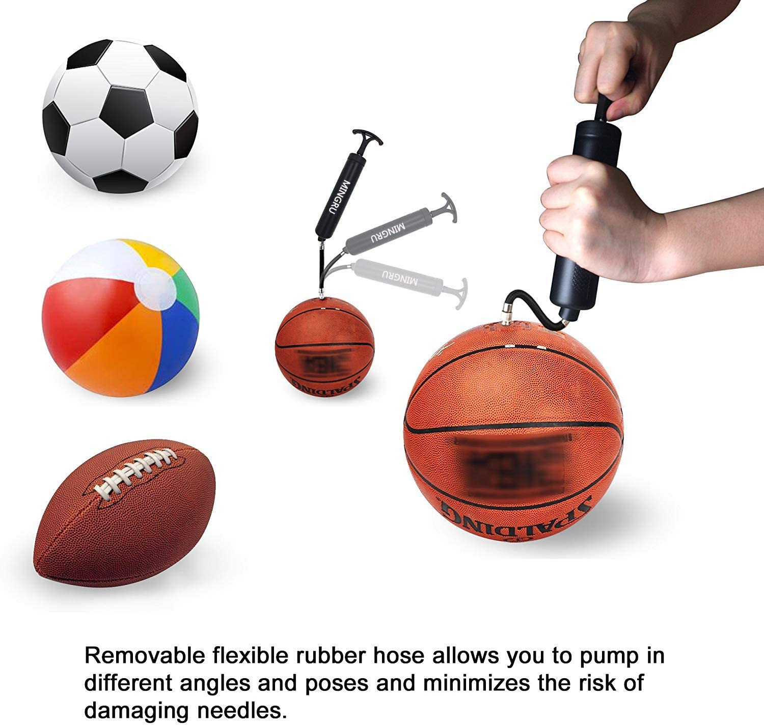 Ball Pump Black - 1 Pack Volleyball Needles and Nozzles Included Soccer Water Polo ball /& Other Inflatables Air Pump Rugby MINGRU Dual Action Ball Pump for Basketball