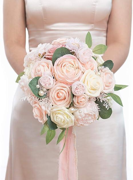 9 x Ivory Hessian Roses on Stems Handmade Wedding Bouquet Vintage