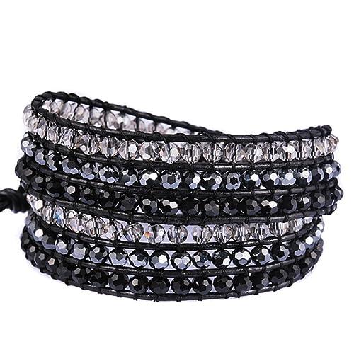 ffee5748b97c6 New! Crystal Wrap Bracelets for Women Girls Genuine Leather Adjustable  Rhinestone Best Friend Cuff Bangle Beads Stones Nice Gift