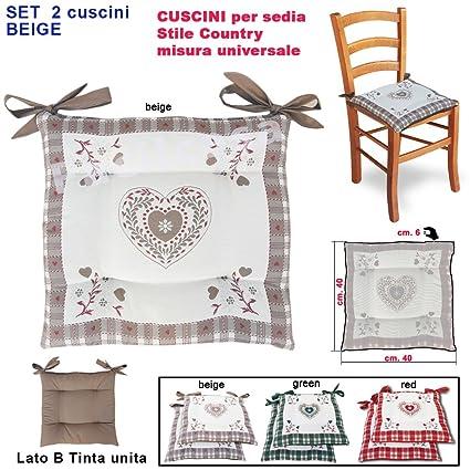 FACILCASA Cuscino per Sedia Imbottito, Modello Cuori Tirolese Double ...