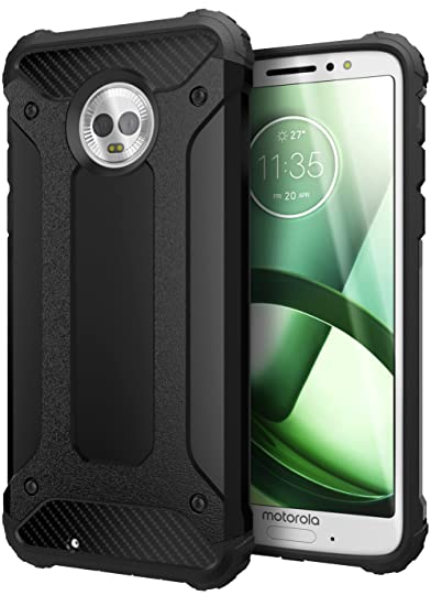 reputable site ab8d4 0c40f Cimo Carbon Armor Moto G6 Case with Dual Layer Protection and Rugged Hybrid  Shell for Motorola Moto G6 - Black