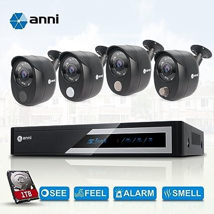 Anni CCTV Sistemas de cámaras de Seguridad 8CH 1080N AHD DVR Kit con 4 x 1080p, Alarma de Sensor de Gas Incorporado, detección de Cuerpo PIR, Sonidos ...