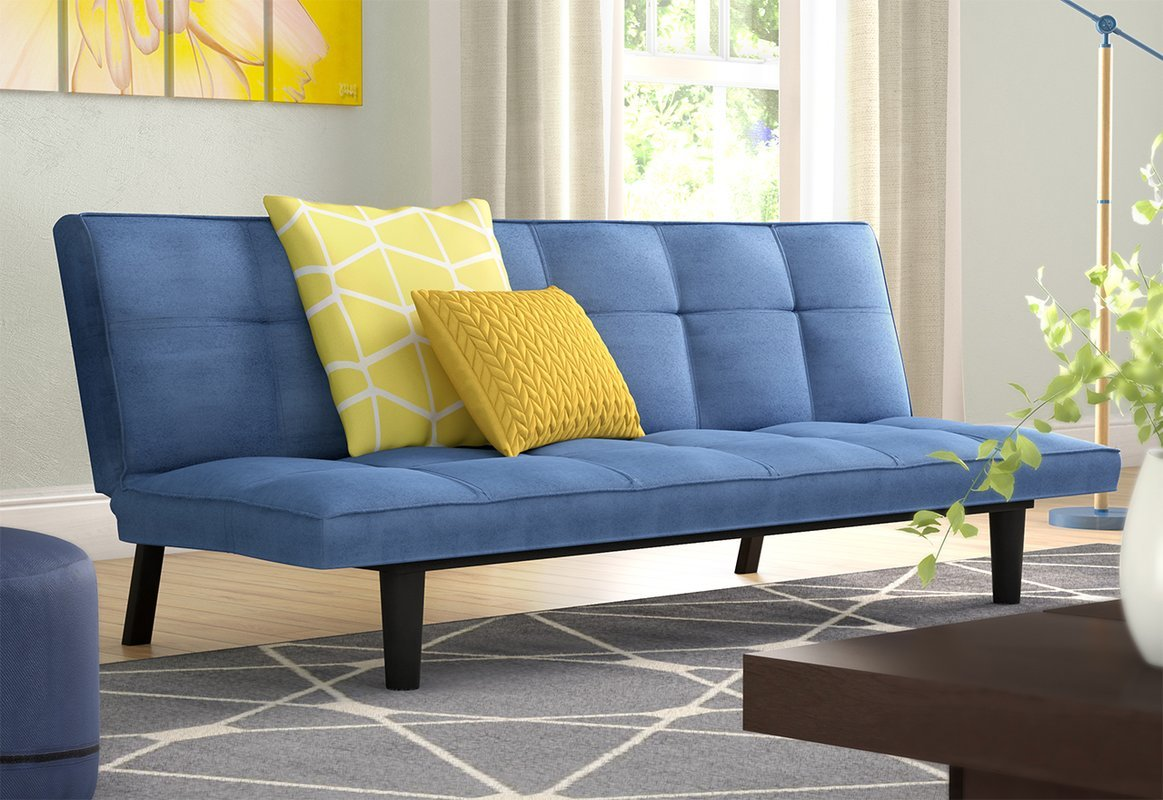 Comfortable and Stylish Multi-Functional Convertible Sofa, Features a Modern Design with a Double Cushioned Seat and Back, Ideal for Any Room of Your Home, Royal Blue + Expert Guide by eCom Rocket