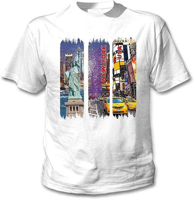 teesquare1st New York USA Camiseta Blanca para Hombre de Algodon ...