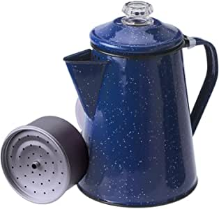 GSI Outdoors 8 Cup Enamelware Percolator Coffee Pot for Campsite, Cabin, RV, Kitchen, Groups, Backpacking