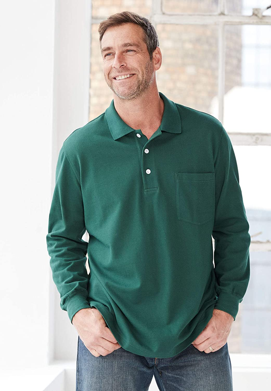 KingSize Mens Big /& Tall Long-Sleeve Pique Polo