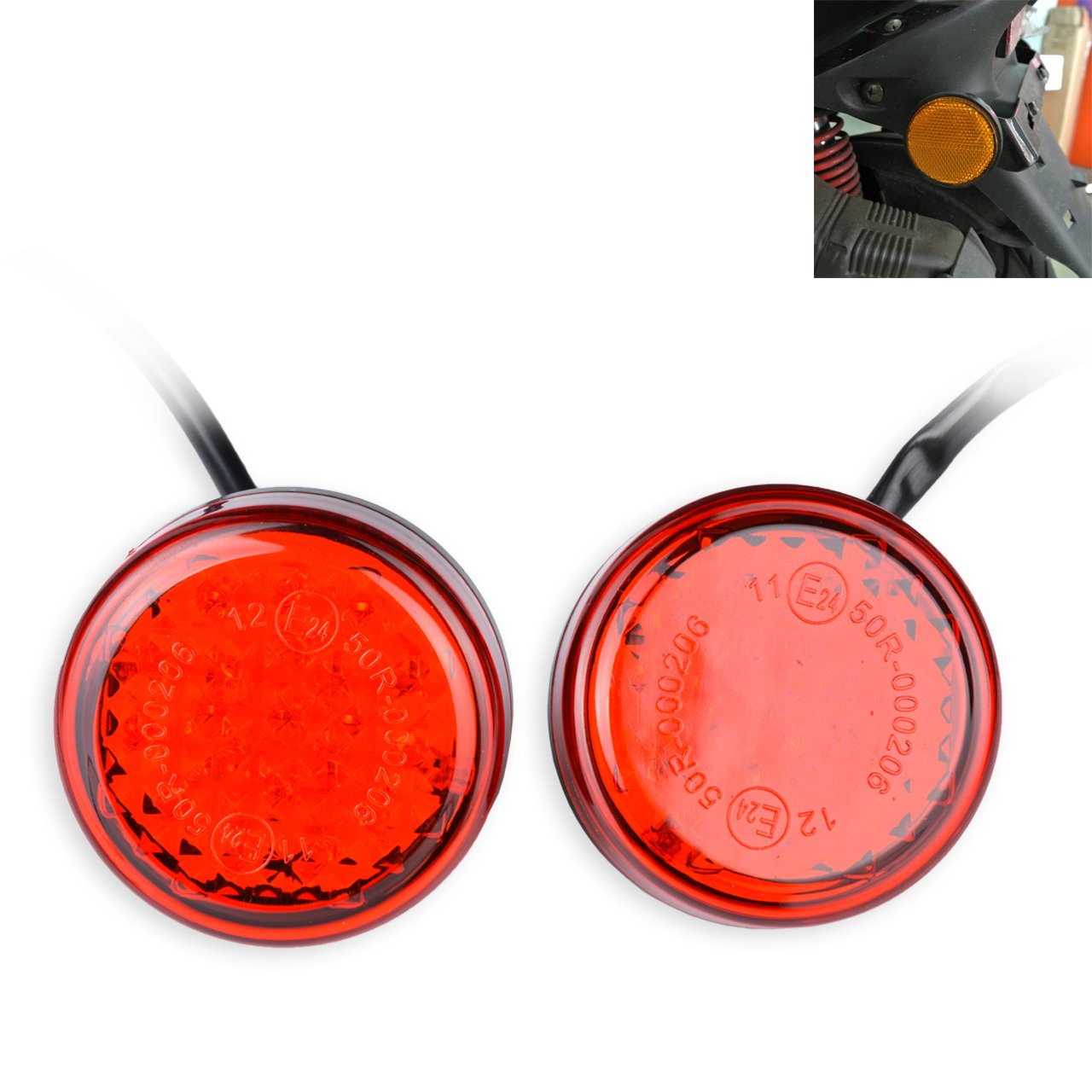 NATGIC 2 ST/ÜCKE Universal Runde Rote Linse 24 Reflektoren R/ückleuchten Bremslichter f/ür Auto Fahrzeug Lkw-anh/änger RV ATV Motorrad