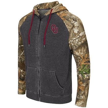 Colosseum University of Oklahoma Sooners Men s Camo Full Zip Realtree  Hoodie (Medium) b305f7903