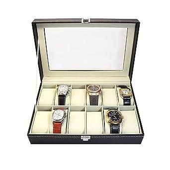 Caja para Relojes. Caja para Guardar 12 Relojes. Joyero Expositor para almacenaje de Relojes. Estuche para Relojes y Pulseras. Diseño Elegante. Regalo ...
