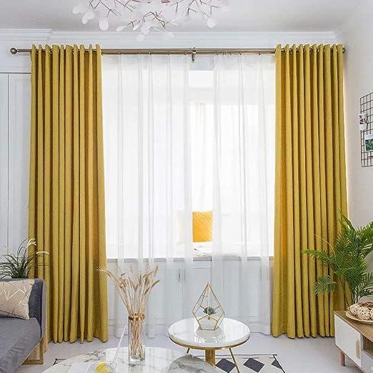 Leadtimes Linen Sheer Curtains Stripe Decorative Semi Curtain Panels Bedroom Living Room Modern Grommet Top Window Treatment 2 Panels Set Yellow, 52 W x 96 L