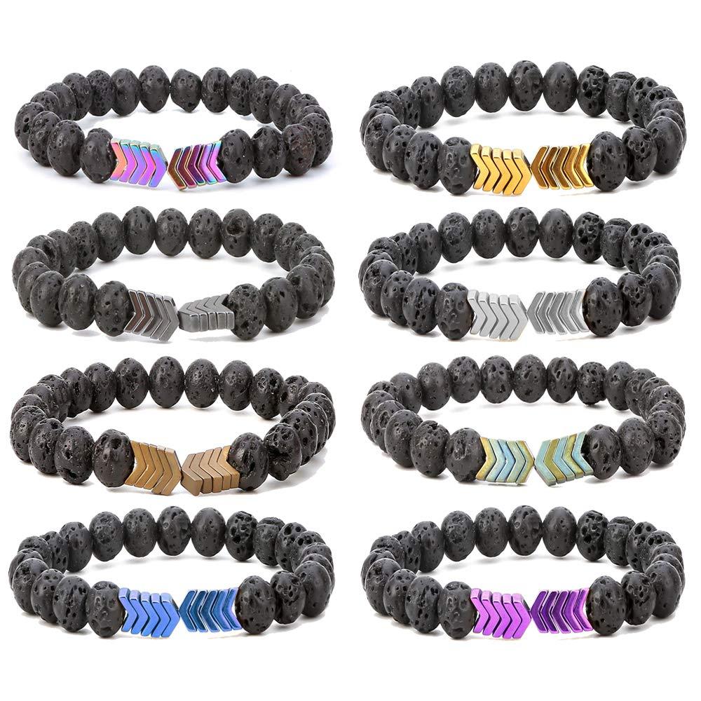 SEVENSTONE 8mm Lava Rock Bead Arrow Diffuser Natural Stone Bracelet Yoga Beads Elastic Jewelry Set for Women Men by SEVENSTONE