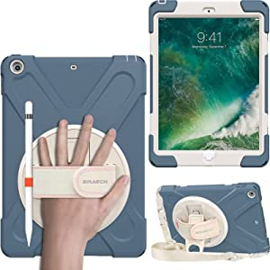 BRAECN Kids Case for iPad 6th 5th Gen 9.7 Inch 2018/2017, Rugged Shockproof Case Cover with Shoulder Strap, Hand Strap, Kickstand for Apple iPad 9.7 Inch 2018/2017 6th 5th Generation- Cornflower Blue