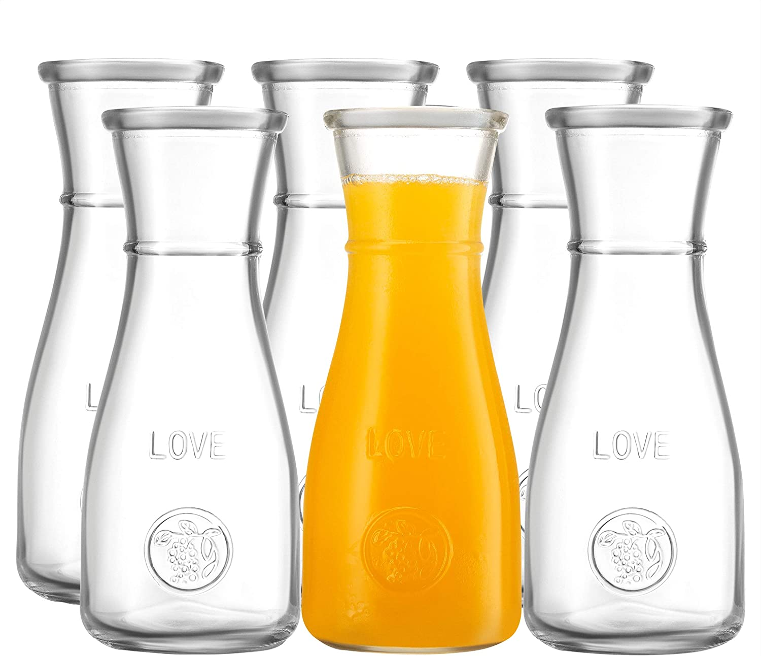 500 ml Glass Carafe - 6 Pack - The LOVE Drink Pitcher and Elegant Wine Decanter, Narrow Neck For Easy Grip, Wide Mouth for Classic Pouring - Great for Parties and Events – by Kitchen Lux