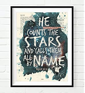 Amazon holy bible giant print toffee leathersoft red he counts the stars and calls them all by name psalm 1474 christian negle Image collections