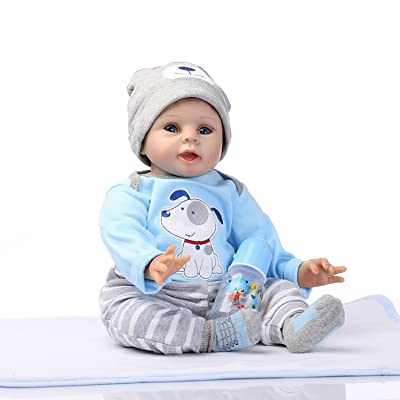 NPKDOLLS Reborn Baby Doll Soft Silicone Vinyl Baby Boy 22inch 55cm Magnetic Mouth Cute boy Wearing Toy Blue Dog Cute Doll Gift Set for Ages 3+: Home & Kitchen