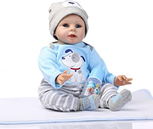 NPKDOLLS Reborn Baby Doll Soft Silicone Vinyl Baby Boy 22inch 55cm Magnetic Mouth Cute boy Wearing Toy Blue Dog Cute Doll Gift Set for Ages 3+
