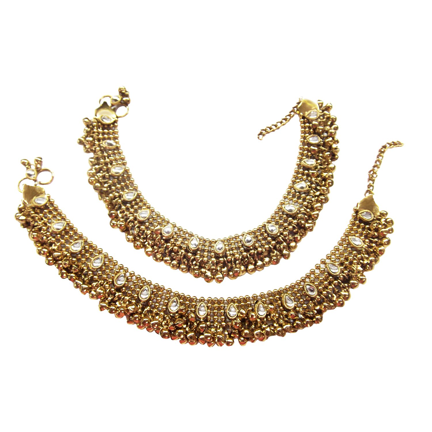 Aria Antique Style Diwali Festive Cz Plated Bridal Anklet Gold