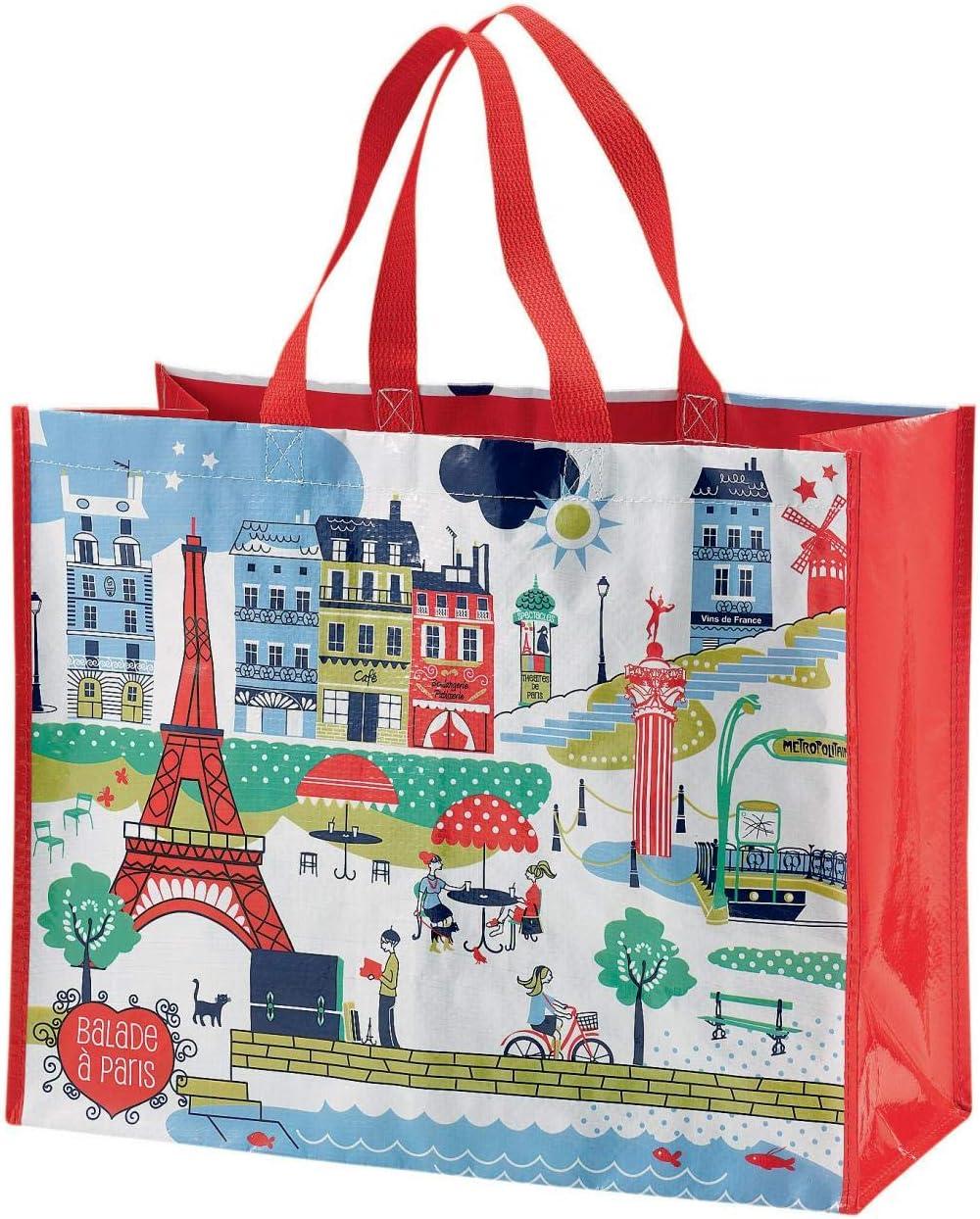Winkler Gro/ße Einkaufstasche Spaziergang durch Paris wei/ß 36 x 44 x 20 cm
