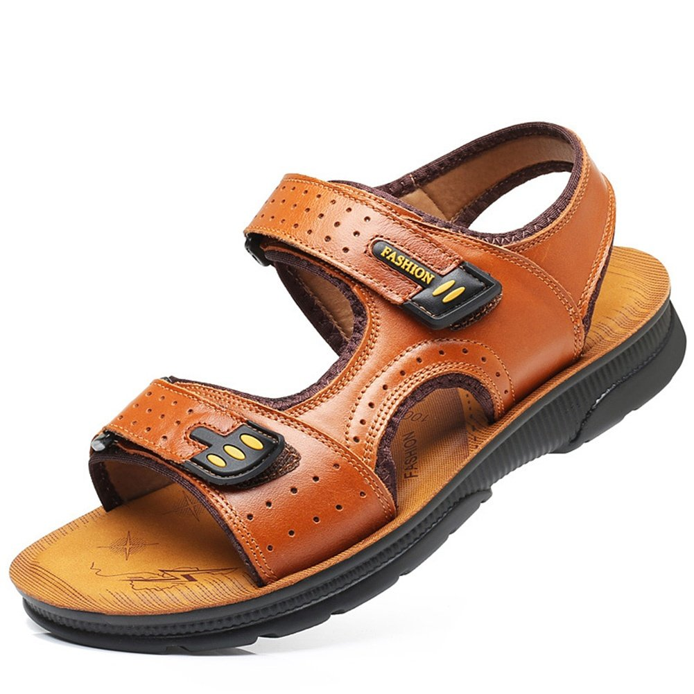 SSYY-Hombres Sandalias Cuero Velcro Punta Abierta Zapatos de Playa Antideslizante Fondo Suave Aire Libre Ejercicio Sandalias, Brown, UK 6.5/EU 39 UK 6.5 / EU 39|brown