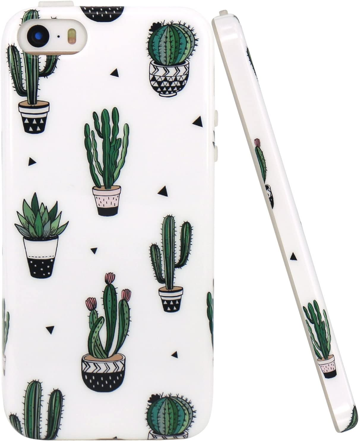 JAHOLAN iPhone 5 Case, iPhone 5S case, Green Cactus Design Clear Bumper Glossy TPU Soft Rubber Silicone Cover Phone Case Compatible with iPhone 5 5S