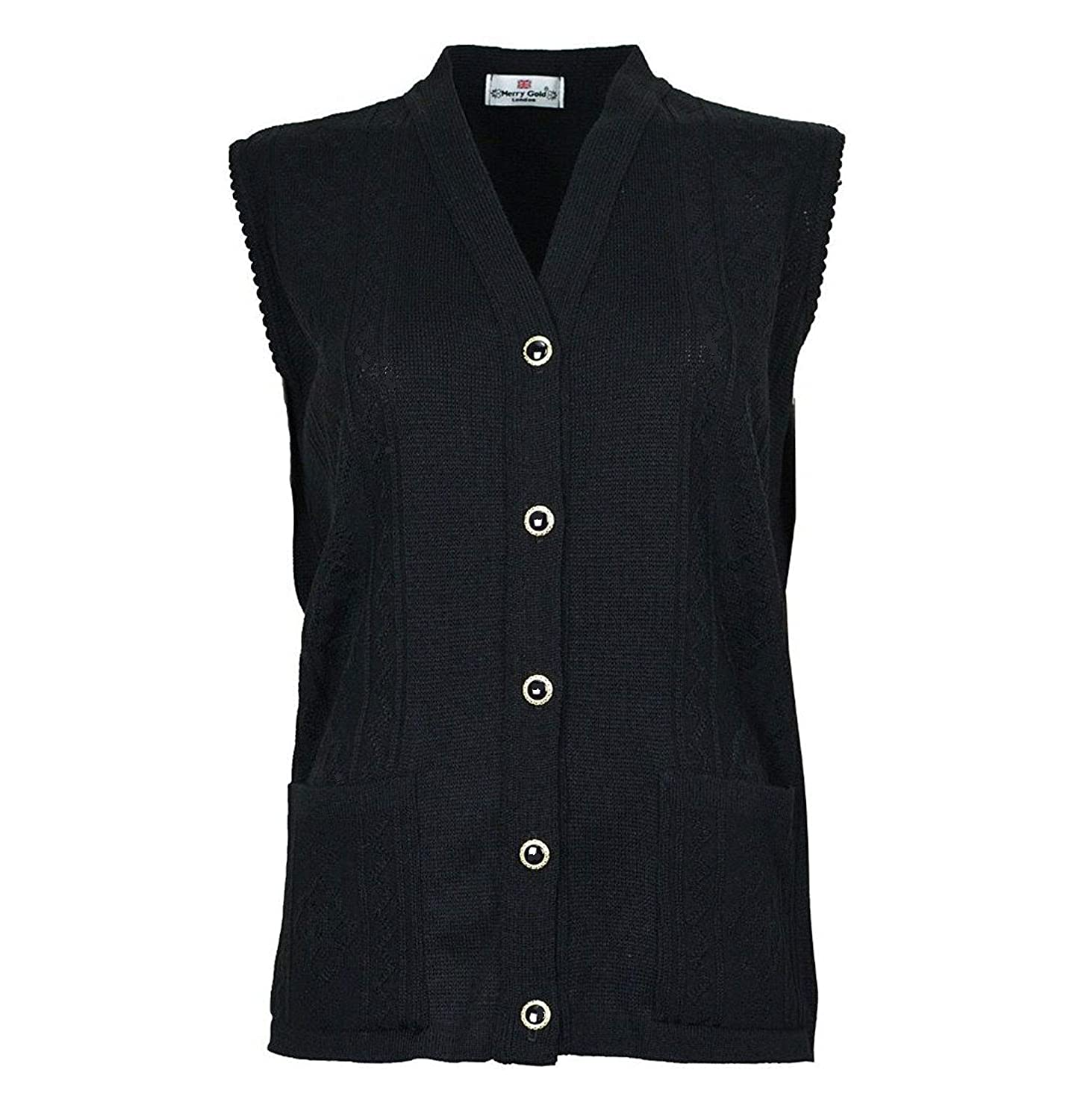 Merry Gold Sleeveless Cardigan Womens Knitted Waistcoat with Pockets Care Home Proof
