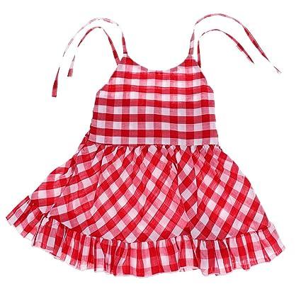 91e5e04cb Homyl Summer Toddler Baby Girl Plaid Check Casual Party Dress Kids  Sleeveless Sundress - 12-18 Months: Amazon.in: Baby