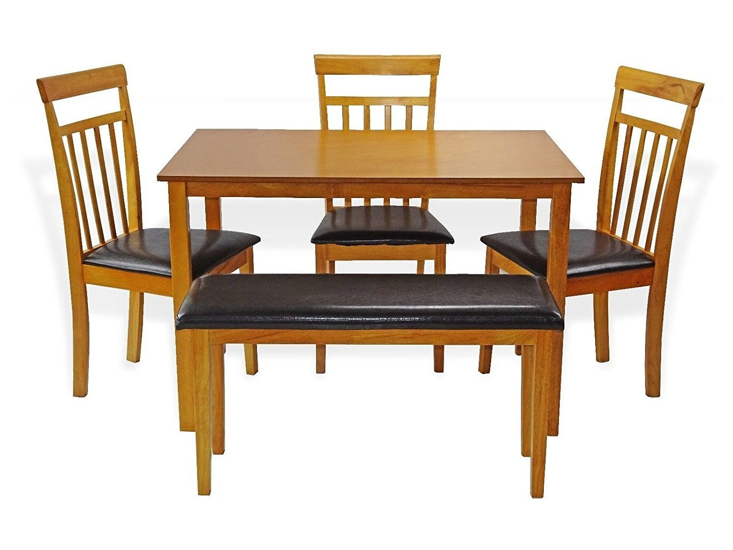 Rattan Wicker Furniture Dining Kitchen Solid Wooden Bench Stained Padded Seat Classic Design in Maple Finish by Rattan Wicker Furniture (Image #6)