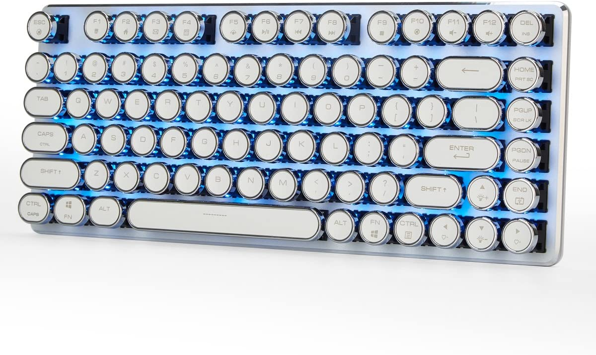 Mechanical Gaming Keyboard Wired 82 Keys Cherry MX Brown Switches Keyboard with Steampunk Retro Vintage Typewriter Style Keycaps Blue Backlight White