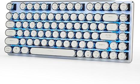 Teclado De Juego Mecánico con Cable Retroiluminación Azul Hielo con Cherry MX Interruptores Marrones Steampunk Vintage Keycaps 82 Teclas Magicforce ...