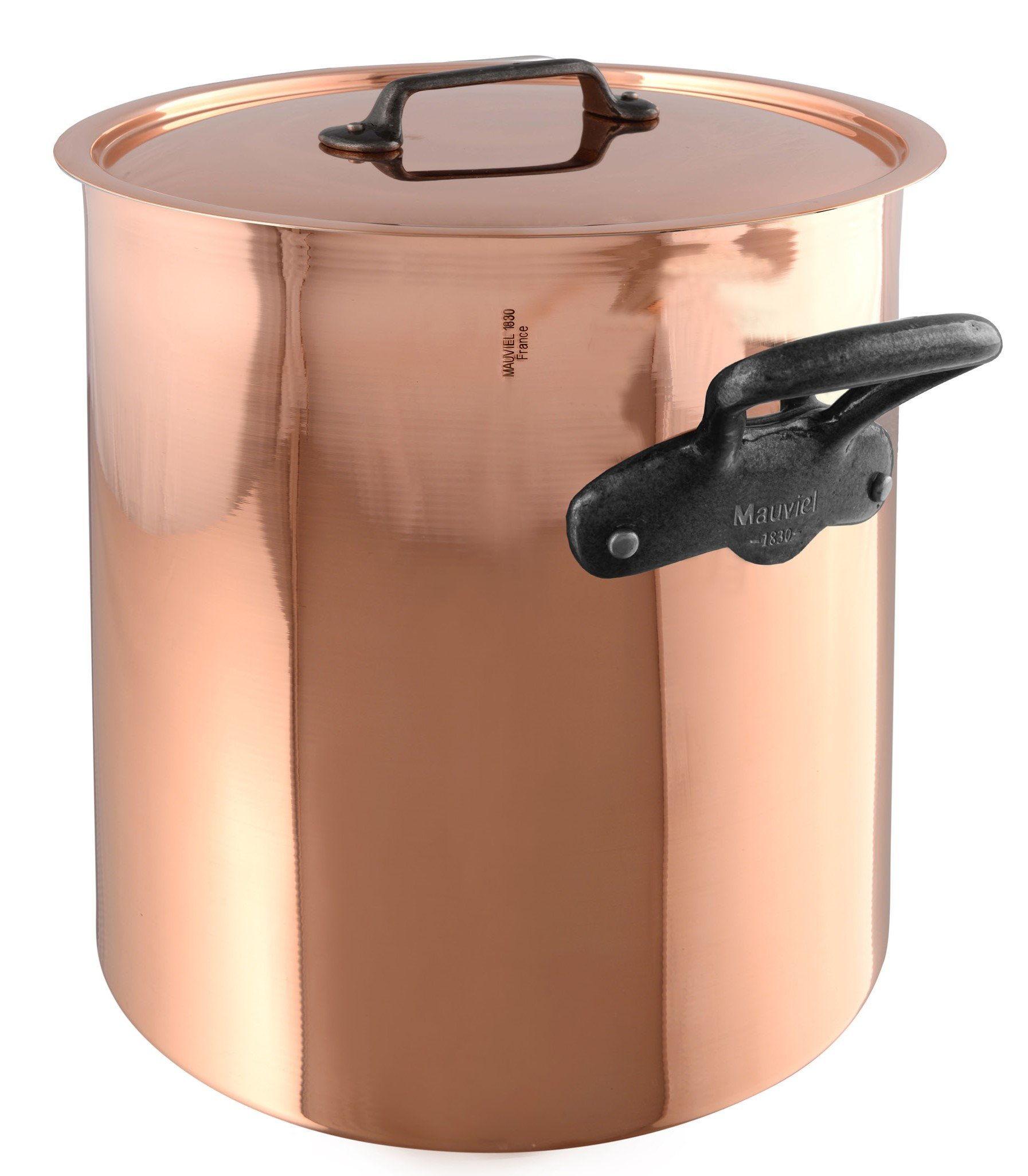 Mauviel M'Heritage M150C 6482.25 Copper Tinned Lined Stockpot with Lid. 11L/11.2 quart 24 cm/9.5'' with Cast Stainless Steel Iron Eletroplated  Handle