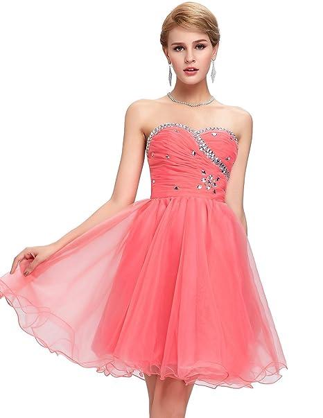 Quissmoda vestido corto largo fiesta, noche, gala, talla 34, color watermelon red