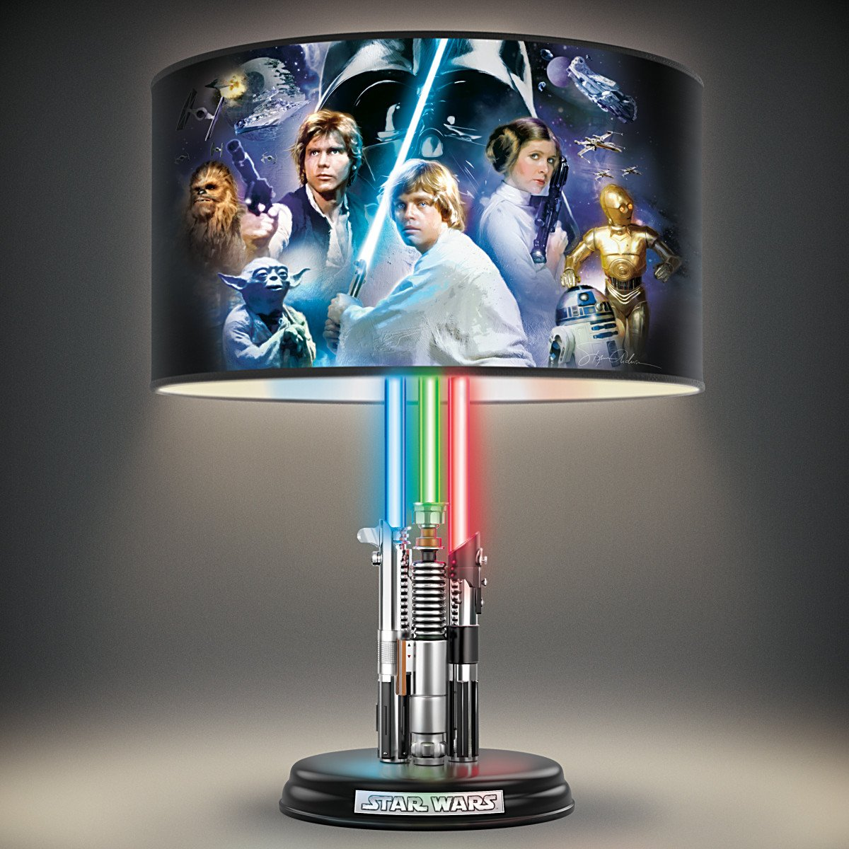 Nice Star Wars Lightsaber Lamp With Illuminated Lightsabers And Steve Anderson  Art By The Bradford Exchange     Amazon.com