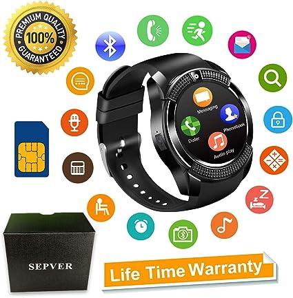 Smartwatch SEPVER Reloj Inteligente Smart Watch con Cámara Soporte de Pantalla Táctil Tarjeta SIM Compatible con Samsung Sony HTC Huawei Xiaomi Honor