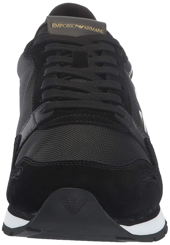 Amazon.com | Emporio Armani Mens Lace Up Logo Fashion Sneaker Black, 6M Regular UK (7M US) | Fashion Sneakers