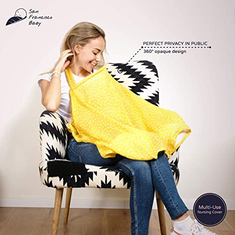 Multiuse Nursing Cover by San Francisco Baby Large Breastfeeding Cover with Built-in Burp Cloth /& Pocket Chemical-Free Cotton Muslin Nursing Cover 360/° Coverage Soft Black Breathable