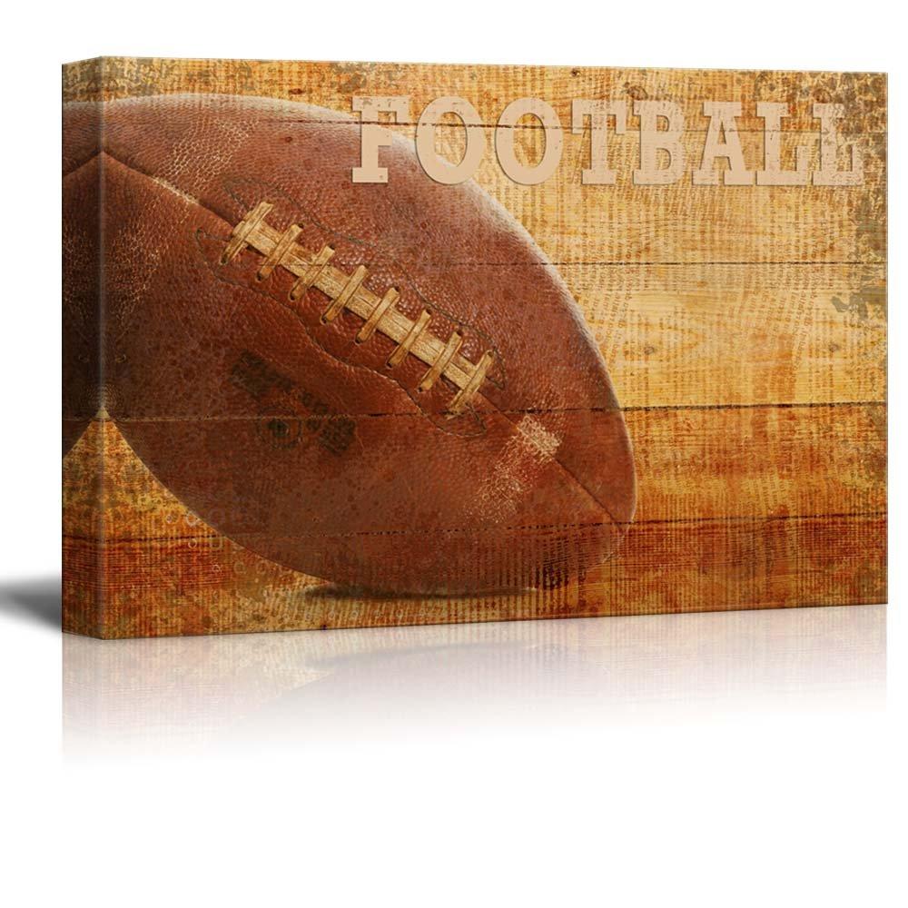Rustic Football - Football Vintage Wood Grain - Canvas Art Home Art - 12x18 inches