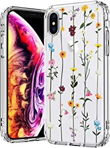 MOSNOVO Case for iPhone Xs/iPhone X, Wildflower Floral Flower Pattern Clear Design Printed Plastic Hard with TPU Bumper Protective Case Cover for Apple iPhone X/iPhone Xs
