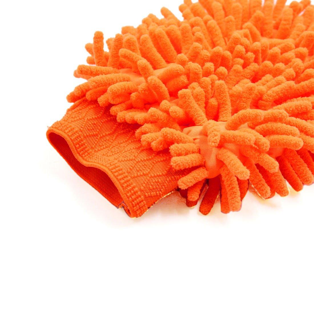 sourcing map Gant de Nettoyage Double Face Lavage de Voiture de mitaine de Chenille Microfibre Orange