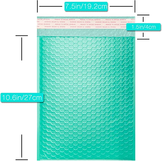 25 x TEAL GREEN  Poly Bubble Mailer 18 x 27cm Padded Envelope