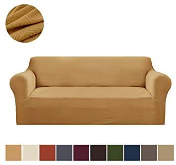 Stupendous Binztec 1 Pieces Sofa Slipcover Knitted Jacquard Spandex Sofa Cover Furniture Protector Couch Cover With Elastic Bottom Gold Sofa Machost Co Dining Chair Design Ideas Machostcouk