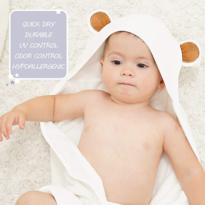 Suitable as Newborn Shower Gifts Stripe Hypoallergenic Animal Bear Boy Girl Bath Towels for Infant and Toddler Premium Ultra Soft Bamboo Baby Hooded Towel and Washcloth Sets with Unique Design