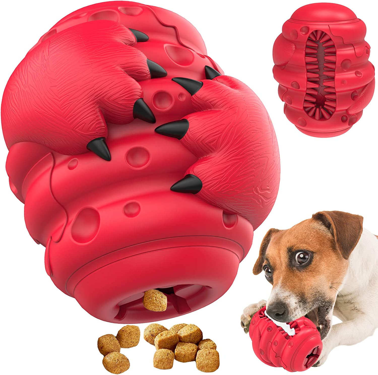 Dog Chew Toy for Aggressive Chewers Medium Large Breed Dogs, Indestructible Ultra Tough Slow Feeder Dog Food Dispenser, 100% Safe Natural Rubber
