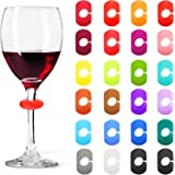 Wine Glass Charms Markers Drink Markers for Wine Glass Champagne Flutes Cocktails, Martinis (Silicone, 24 Pieces)