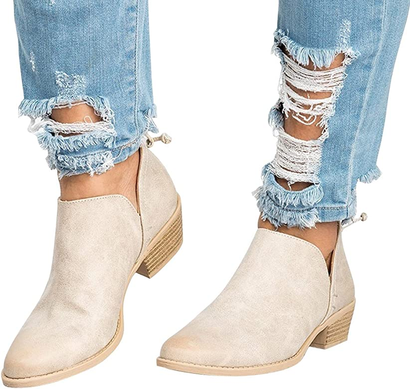 6b3745afb80 Women's Casual Ankle Booties Cut Out Slip On Low Heel Short Boots