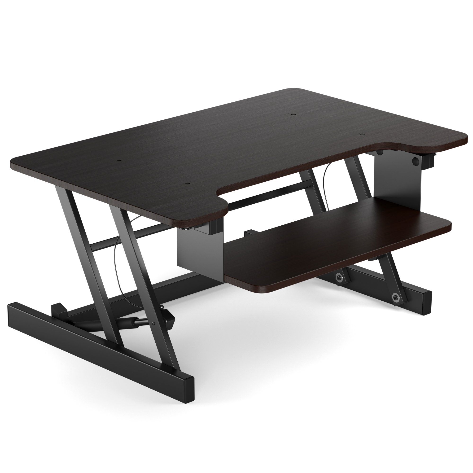 ERGONOMIC HEIGHT ADJUSTABLE Standing Desk - TWO TIER Computer Riser Converter with Easy Sit – To - Stand Transition and Vice - Versa (Black)