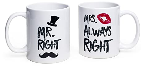 6b7409dfc Image Unavailable. Image not available for. Color: Funny Wedding Gifts - Mr.  Right and Mrs. Always Right Coffee Novelty Mug Set